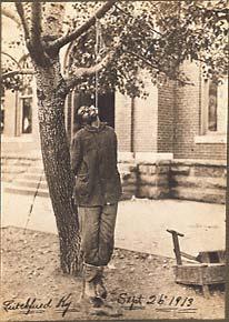 The lynching of Joseph Richardson, damaged shoeshine stand. September 26, 1913, Leitchfield Kentucky.