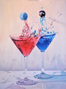 """I'll Have a Double"" Oil on Board"