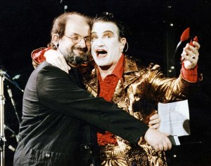 "Rushdie, still in hiding, was invited onstage by Bono at Wembley Stadium. Of this event, Rushdie wrote ""Amazingly Special Branch did not object. Maybe they didn't think there would be many Islamic assassins at a U2 gig."""