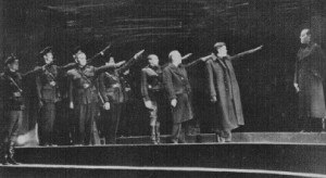 Welles (second from right) in his production of 'Julius Caesar'