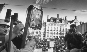 A demonstration against The Satanic Verses, in Bradford, England, in 1989.