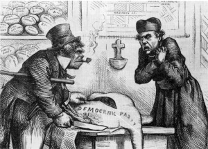19th century cartoon by Thomas Nast showing the Irish and the Catholic Church  carving up the Democratic Party