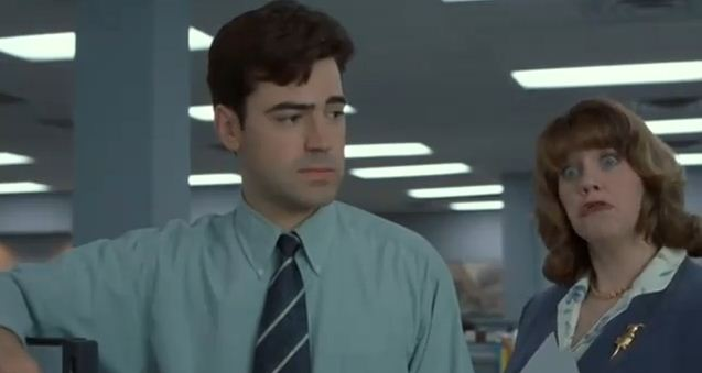 Wear your flair the cast of office space then and now the fluff is raging - Pieces of flair office space ...