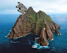 The Millenium Falcon spotted flying over Skellig Michael off the coast of Kerry. source: twitter