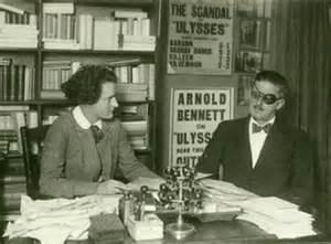 Sylvia Beach and Joyce at the bookshop