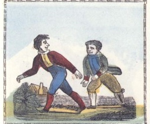 """Walking"" (Illustration from Peter Piper's Practical Principles of Plain and Perfect Pronunciation). source: Wikipedia"
