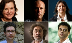 Richard Flanagan (top row, centre) and the other five shortlisted authors for this year's Booker. source: Guardian