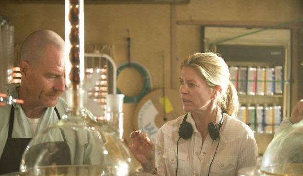 "Michelle MacLaren directs Bryan Cranston n the set of ""Breaking Bad"" (source: AMC)"