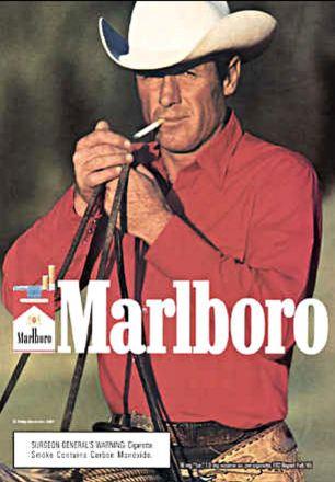 MARLBORO CIGARETTES POSTER ADVERT, MARLBORO MAN, COWBOY SMOKING