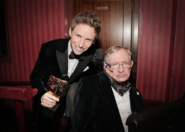 Eddie Redmayne and Stephen Hawking. source: BBC