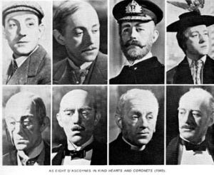 Alec Guinness playing all eight members of the D'Ascoygne family in 'Kind Hearts and Coronets'
