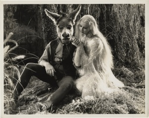 "Anita Louise as Titania, Queen of the Faeries, with James Cagney as Bottom, ""A Midsummer Night's Dream"""