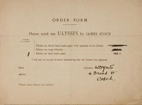 W.B. Yeats orders a copy of 'Ulysses'. National Library of Ireland